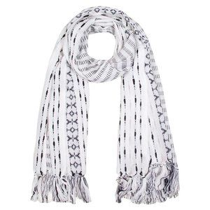 LOF Black Mixed Stitch Pattern Fringe Oblong Scarf